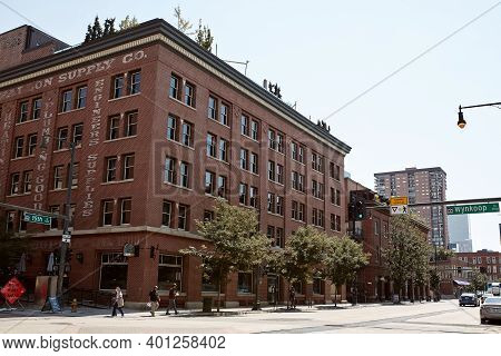 Denver, Colorado - August 4th, 2020:  Ghost Signs On Red Brick Buildings In Downtown Denver.  Denver