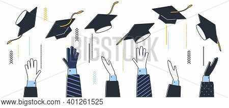Graduation 2021 Caps Confetti. Flying Students Hats With Golden Ribbons Isolated. University, Colleg