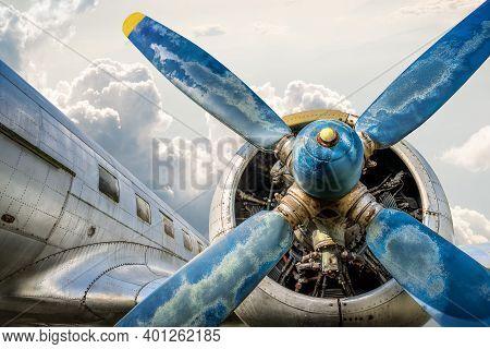 Propeller Of An Historical Aircraft Against A Sunny Sky