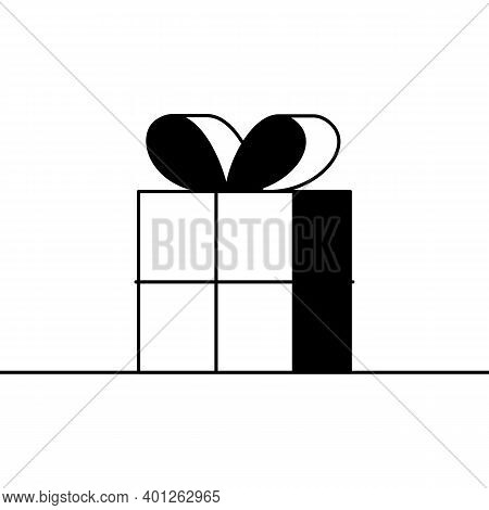 Present Box Icon. Cartoon Vector Icon Of A Boxed Gift Wrapped And Tied With A Ribbon And A Bow. Blac
