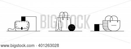 Set Of Womens Purses Icons. 3 Outline Vector Icons Of Stylish Womens Purses, Handbags. Black And Whi