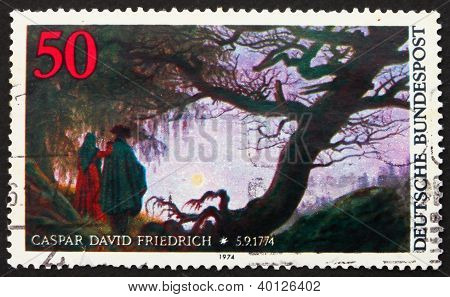 Postage Stamp Germany 1974 Painting By Caspar David Friedrich