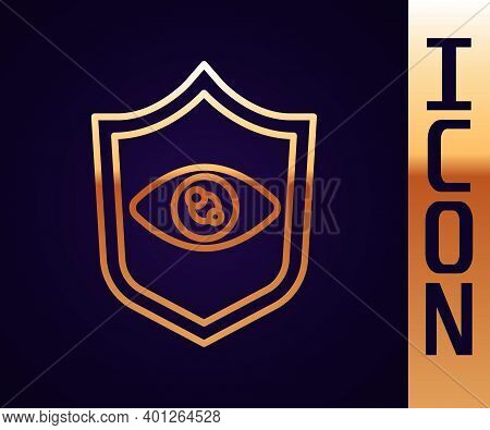 Gold Line Shield Eye Scan Icon Isolated On Black Background. Scanning Eye. Security Check Symbol. Cy