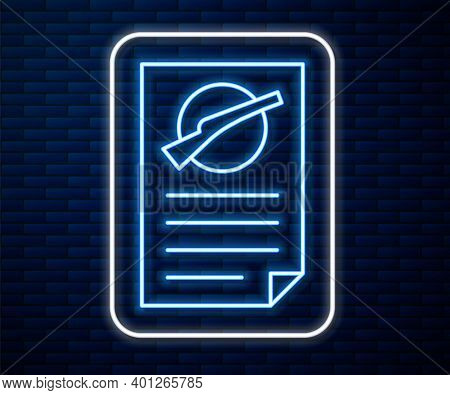 Glowing Neon Line Firearms License Certificate Icon Isolated On Brick Wall Background. Weapon Permit