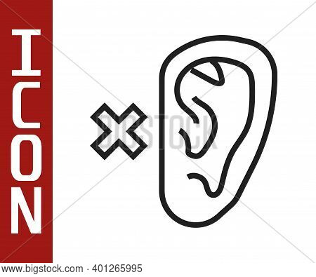 Black Line Deafness Icon Isolated On White Background. Deaf Symbol. Hearing Impairment. Vector