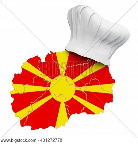 Macedonian National Cuisine Concept. Chef Hat With Map Of Macedonia. 3d Rendering Isolated On White