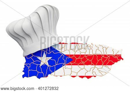 Puerto Rico National Cuisine Concept. Chef Hat With Map Of Puerto Rico. 3d Rendering Isolated On Whi