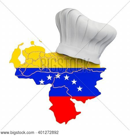 Venezuelan National Cuisine Concept. Chef Hat With Map Of Venezuela. 3d Rendering Isolated On White