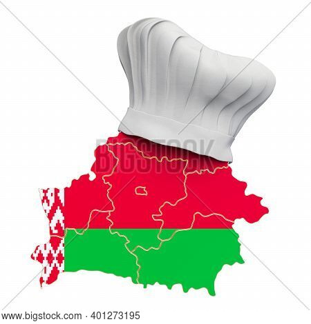 Belorussian National Cuisine Concept. Chef Hat With Map Of Belarus. 3d Rendering Isolated On White B