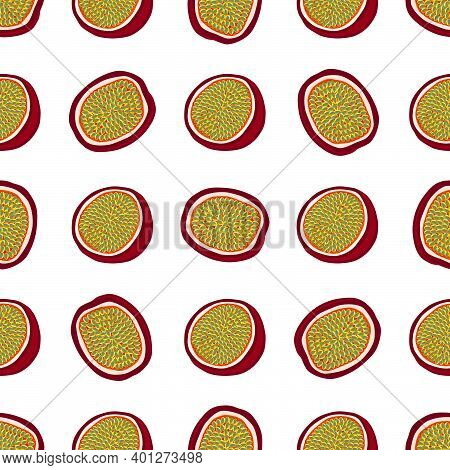 Illustration On Theme Big Colored Seamless Passion Fruit, Bright  Pattern For Seal. Passion Fruit Pa