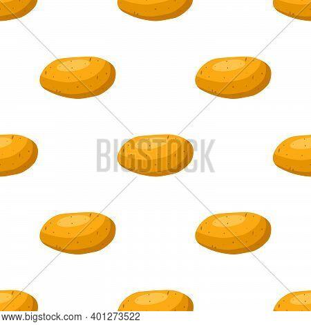 Illustration On Theme Of Bright Pattern Brown Potato, Vegetable Batat For Seal. Vegetable Pattern Co