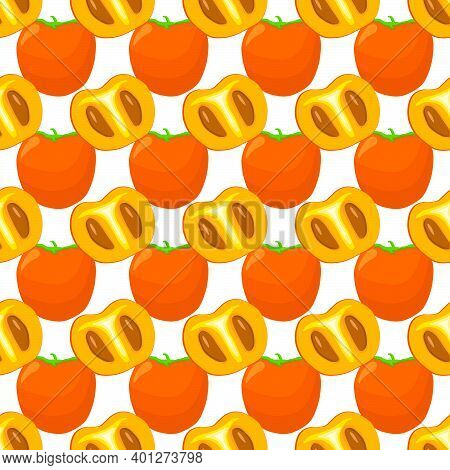 Illustration On Theme Big Colored Seamless Persimmon, Fruit Pattern For Seal. Fruit Pattern Consisti