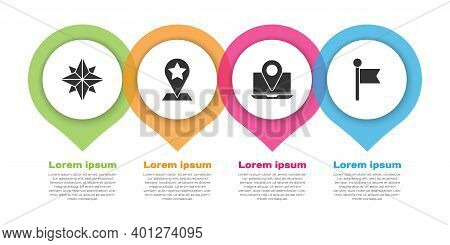 Set Wind Rose, Map Pointer With Star, Laptop With Location Marker And Location Marker. Business Info