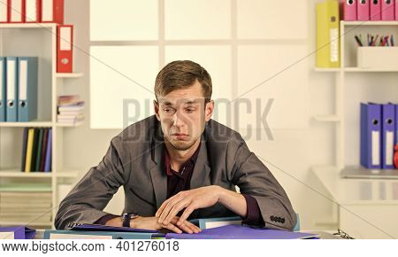 Man Lawyer Sleepy Documents Folders Exhaust With Too Much Work, Overwork Problem Concept