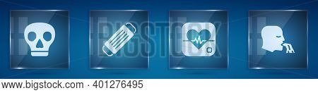 Set Skull, Medical Protective Mask, Heart Rate And Vomiting Man. Square Glass Panels. Vector