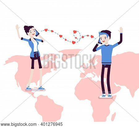 Love, Long Distance Romantic Relationship For Boy, Girl. Separated Young People Communicate By Phone