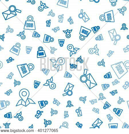 Set Line Placeholder On Map Paper, Envelope With Magnifying Glass And Weight On Seamless Pattern. Ve