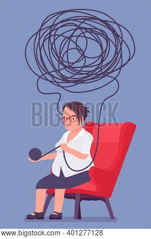 Self Help Senior Woman, Health, Psychological Problems Solving. Person In Distress Unwinding Ball Of