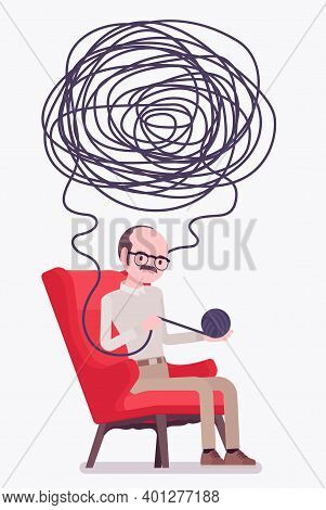 Self Help Senior Man, Health, Psychological Problems Solving. Person In Distress Unwinding A Ball Of