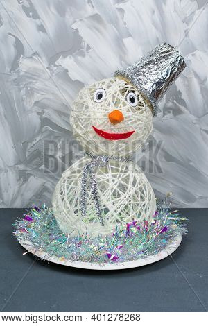 Snowman, Handmade, Made Of Threads. Handmade Christmas Decorations. Front Vertical View.