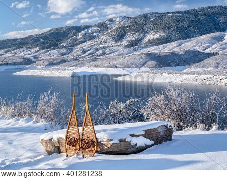 winter scenery of Horsetooth Reservoir in northern Colorado with classic Huron snowshoes