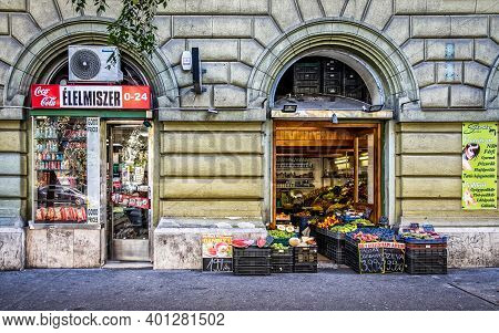 Budapest, Hungary, Aug 2019, View Of A Opened Food Store