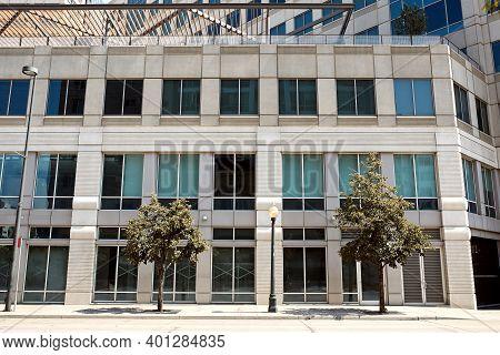 Exterior Of Modern Office Building In Downtown Denver.  Denver, Colorado, Usa