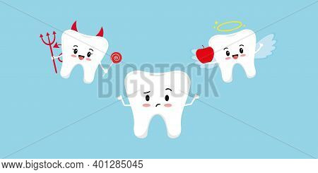 Cute Tooth Think And Devil With Angel On Its Shoulder. Tooth Try Make A Choice Between Good Apple An