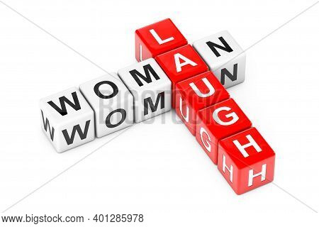 Woman Laugh Sign As Crossword Cube Blocks On A White Background. 3d Rendering