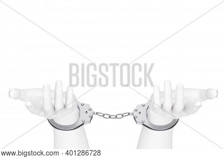 Crime And Law Concept. White Abstract Hands With Handcuffs On A White Background. 3d Rendering