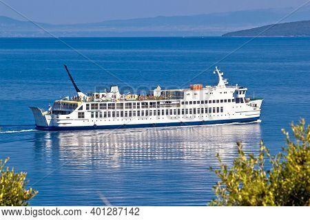 Adriatic Ferry Boat On Blue Sea View, Public Sea Transportation, Cres And Krk Islands, Croatia