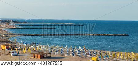 Constanta, Romania - July 15, 2020: View Of The Beach Modern At The Black Sea, In Afternoon Light.