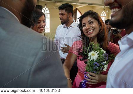 Kerala, India, 08-12-2017. Friend Congratulating The Groom. Catholic Wedding In The Province Of Kera