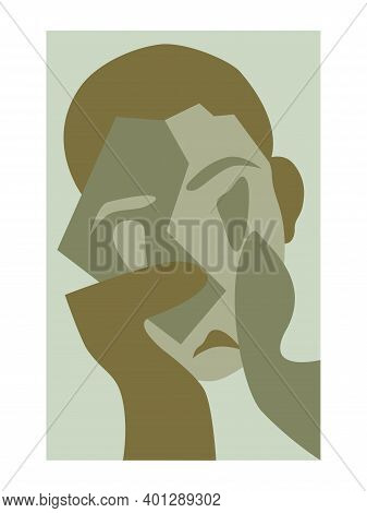 Monochrome Abstract Portrait. Person Close-up. Cubism Art Style. Isolated Vector Illustration