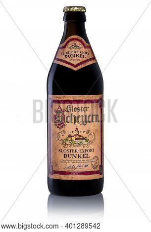 Photo Of A Bottle Of Beer Kloster Scheyern Dunkel On A White Background