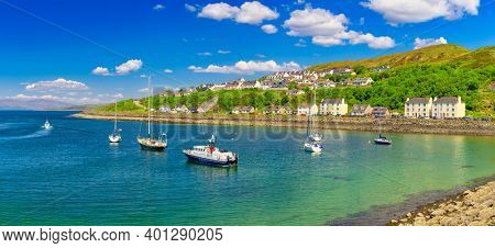 Panorama Of Beautiful Scotland Town Mallaig,  The west coast of the Highlands of Scotland. United Kingdom.
