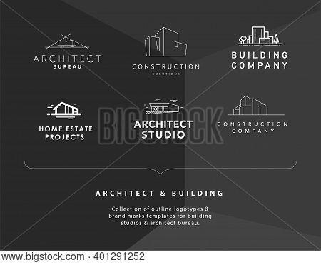 Set Of Vector Construction Company Brand Design Templates. Building Company And Architect Bureau Ins