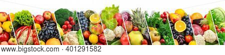 Large panoramic collection fruits, vegetables and berries separated by sloping lines
