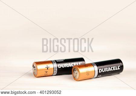 Kharkov, Ukraine - November 24, 2020: Duracell Batteries On White Background. Duracell Is An America