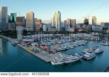 Miami, Florida - December 27, 2020 - Aerial View Of Bayside Marketplace, City Of Miami Marina And Mi