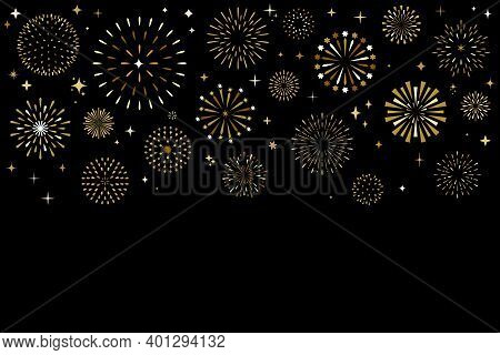 Shiny Christmas Fireworks Display Show, Pyrotechnics Party Or Anniversary Gold Festival Vector Backg