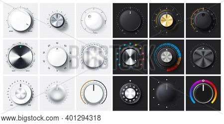 Regulator Knob, Volume Level And Analog Min Max Dials With Realistic Shadow And Radial Metal Gradien
