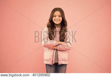 Happy Girl In Casual Wear Pink Background. Little Child In Casual Style. Casual Wardrobe For Autumn