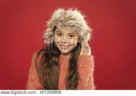 Winter Fashion Concept. Warm Hat For Cold Weather. Perfect Accessory. Girl Wear Hat With Ear Flaps W