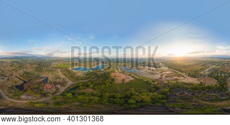 360 Panorama By 180 Degrees Angle Seamless Panorama Of Aerial View Of Hotel Resort With Green Mounta