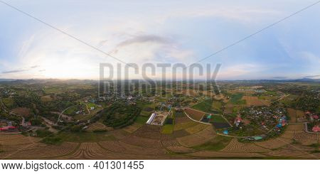 360 Panorama By 180 Degrees Angle Seamless Panorama Of Aerial Top View Of Paddy Rice, Green Agricult