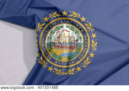 New Hampshire Fabric Flag Crepe And Crease With White Space, The States Of America. The State Seal O