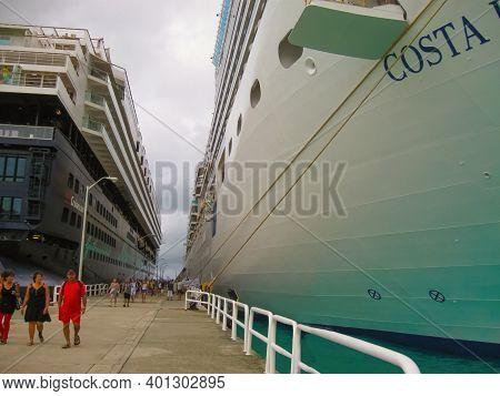 Road Town, Tortola, British Virgin Islands - February 06, 2013: Cruise Ship Mein Schiff 1 Docked In