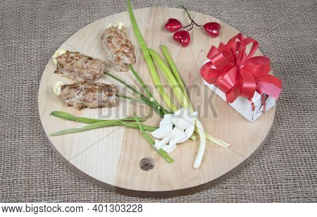 Food Art Idea For Valentine Day, Birthday, Mother's Day. Flowers Made Of Meat On Wooden Cutting Boar