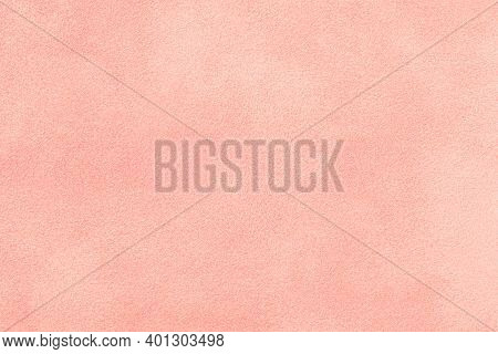 Light Pink Matte Background Of Suede Fabric, Closeup. Velvet Texture Of Seamless Rose Textile, Macro